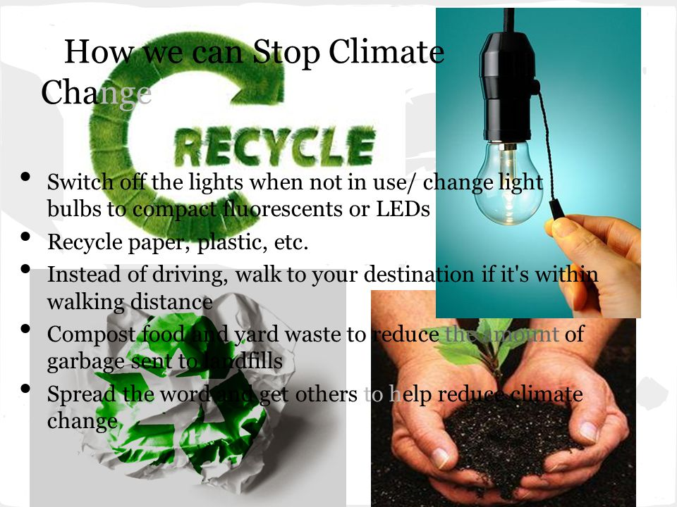 How we can Stop Climate Change Switch off the lights when not in use/ change light bulbs to compact fluorescents or LEDs Recycle paper, plastic, etc.