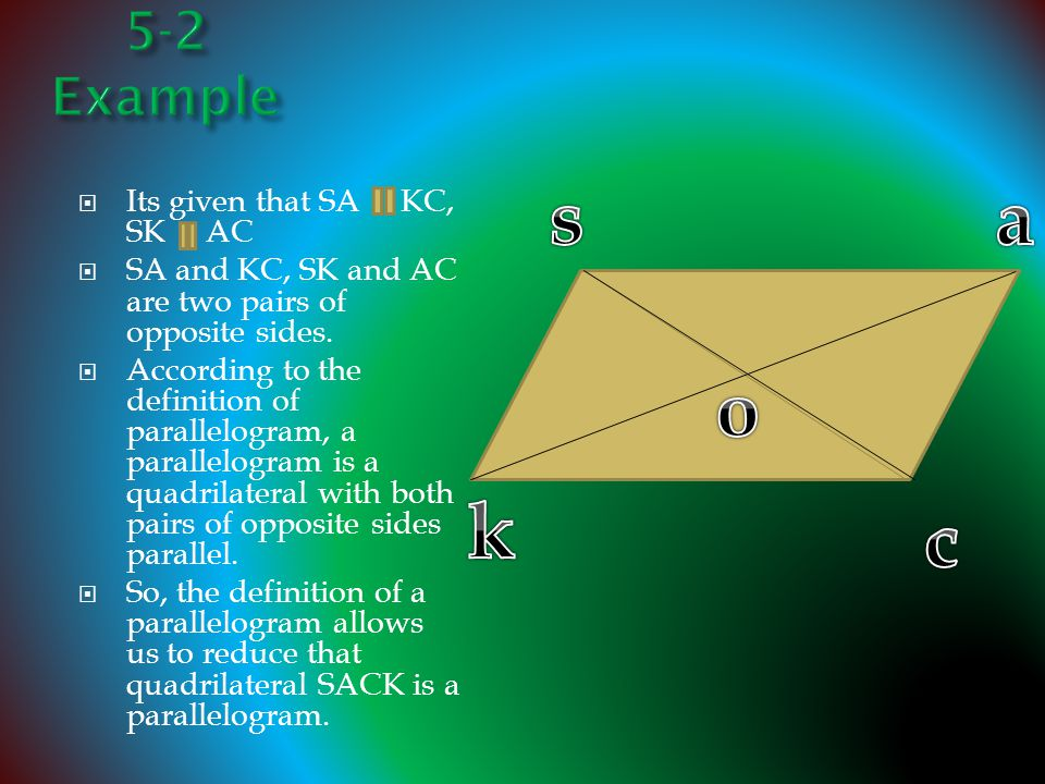  Its given that SA KC, SK AC  SA and KC, SK and AC are two pairs of opposite sides.  According to the definition of parallelogram, a parallelogram