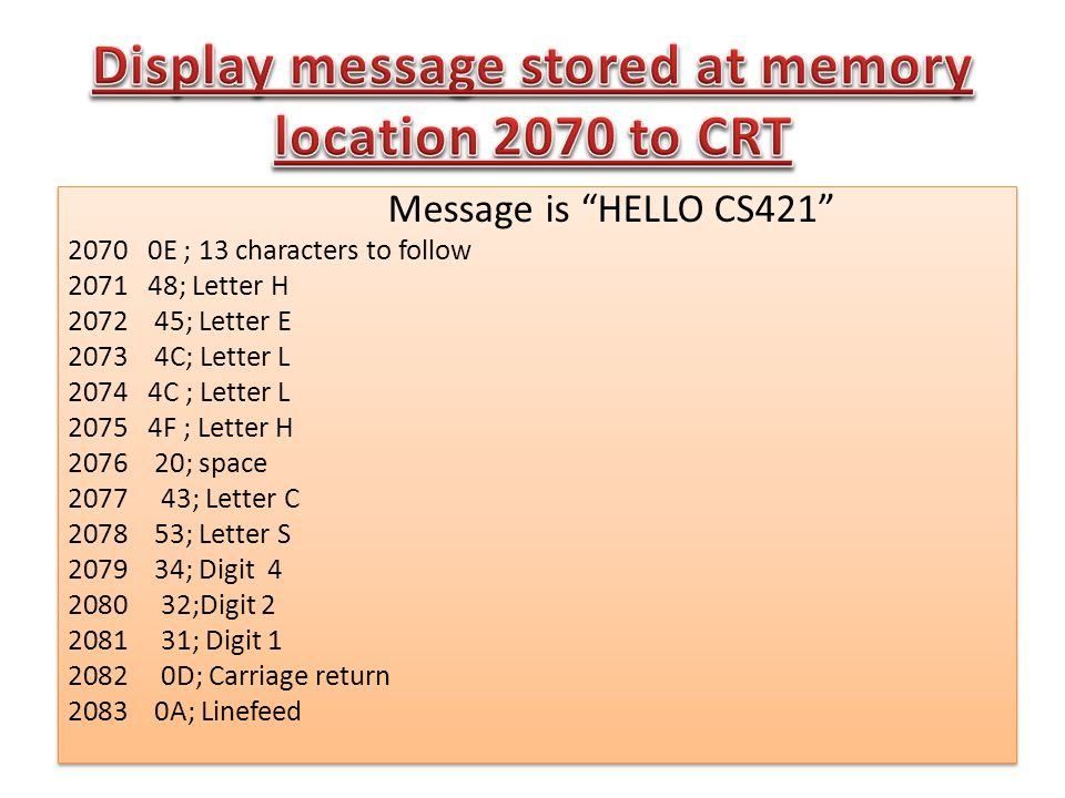 Message is HELLO CS421 2070 0E ; 13 characters to follow 2071 48; Letter H 2072 45; Letter E 2073 4C; Letter L 2074 4C ; Letter L 2075 4F ; Letter H 2076 20; space 2077 43; Letter C 2078 53; Letter S 2079 34; Digit 4 2080 32;Digit 2 2081 31; Digit 1 2082 0D; Carriage return 2083 0A; Linefeed Message is HELLO CS421 2070 0E ; 13 characters to follow 2071 48; Letter H 2072 45; Letter E 2073 4C; Letter L 2074 4C ; Letter L 2075 4F ; Letter H 2076 20; space 2077 43; Letter C 2078 53; Letter S 2079 34; Digit 4 2080 32;Digit 2 2081 31; Digit 1 2082 0D; Carriage return 2083 0A; Linefeed