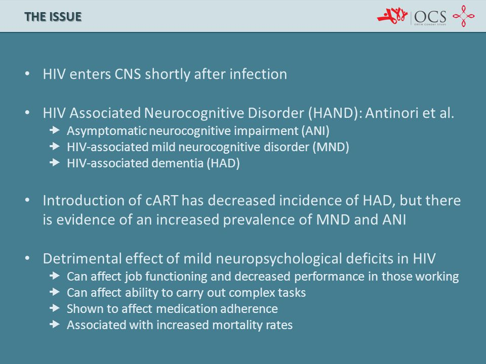 HIV enters CNS shortly after infection HIV Associated Neurocognitive Disorder (HAND): Antinori et al.  Asymptomatic neurocognitive impairment (ANI) 