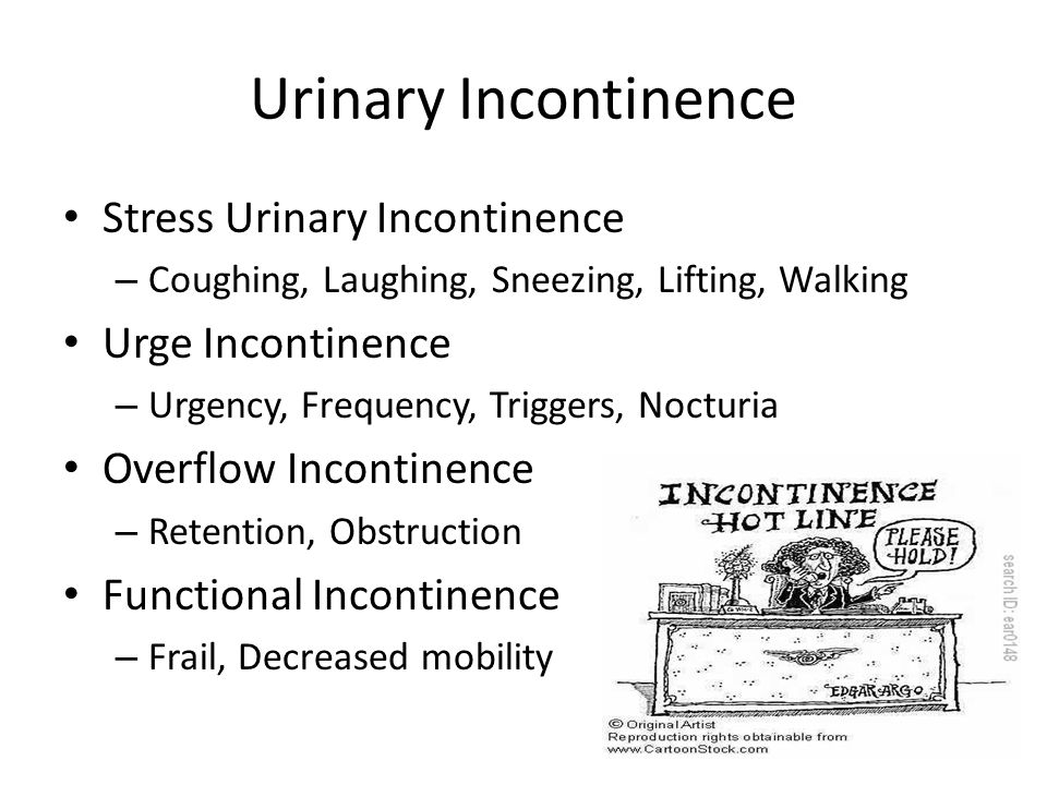Urinary Incontinence Stress Urinary Incontinence – Coughing, Laughing, Sneezing, Lifting, Walking Urge Incontinence – Urgency, Frequency, Triggers, Nocturia Overflow Incontinence – Retention, Obstruction Functional Incontinence – Frail, Decreased mobility