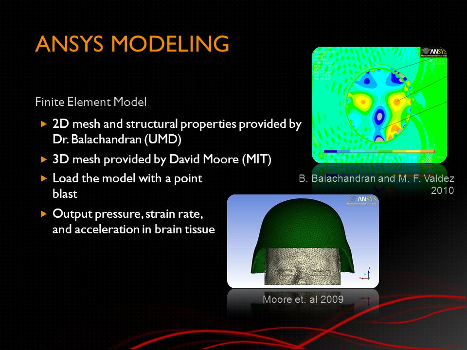 ANSYS MODELING Finite Element Model  2D mesh and structural properties provided by Dr.