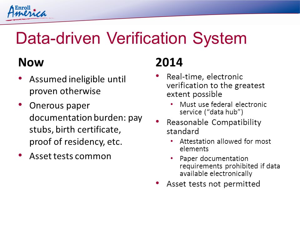 Data-driven Verification System Now Assumed ineligible until proven otherwise Onerous paper documentation burden: pay stubs, birth certificate, proof of residency, etc.