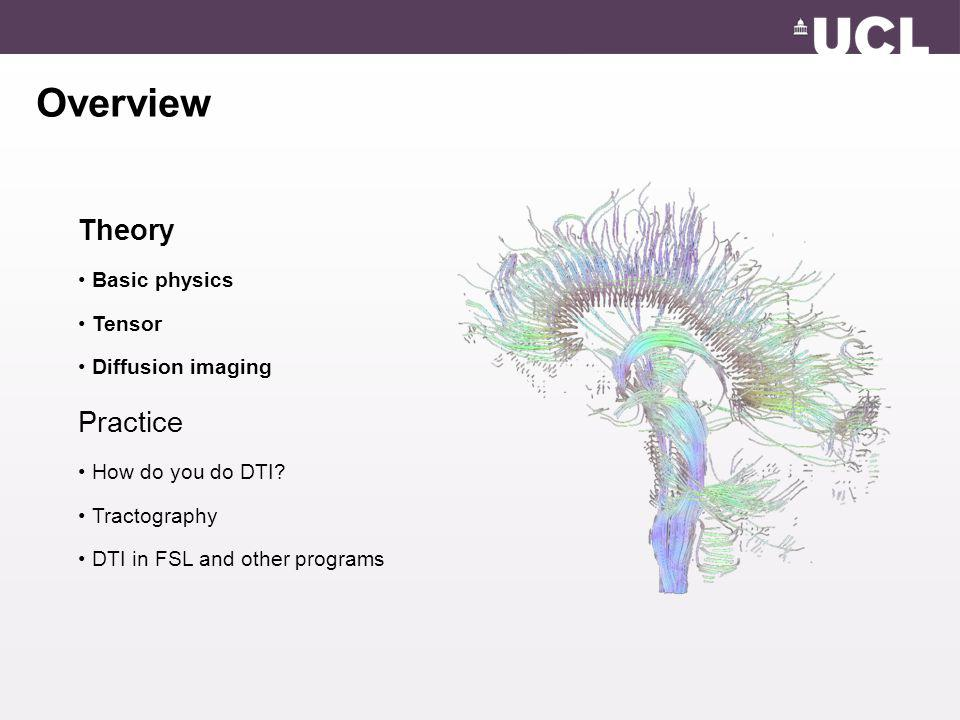 Overview Theory Basic physics Tensor Diffusion imaging Practice How do you do DTI.