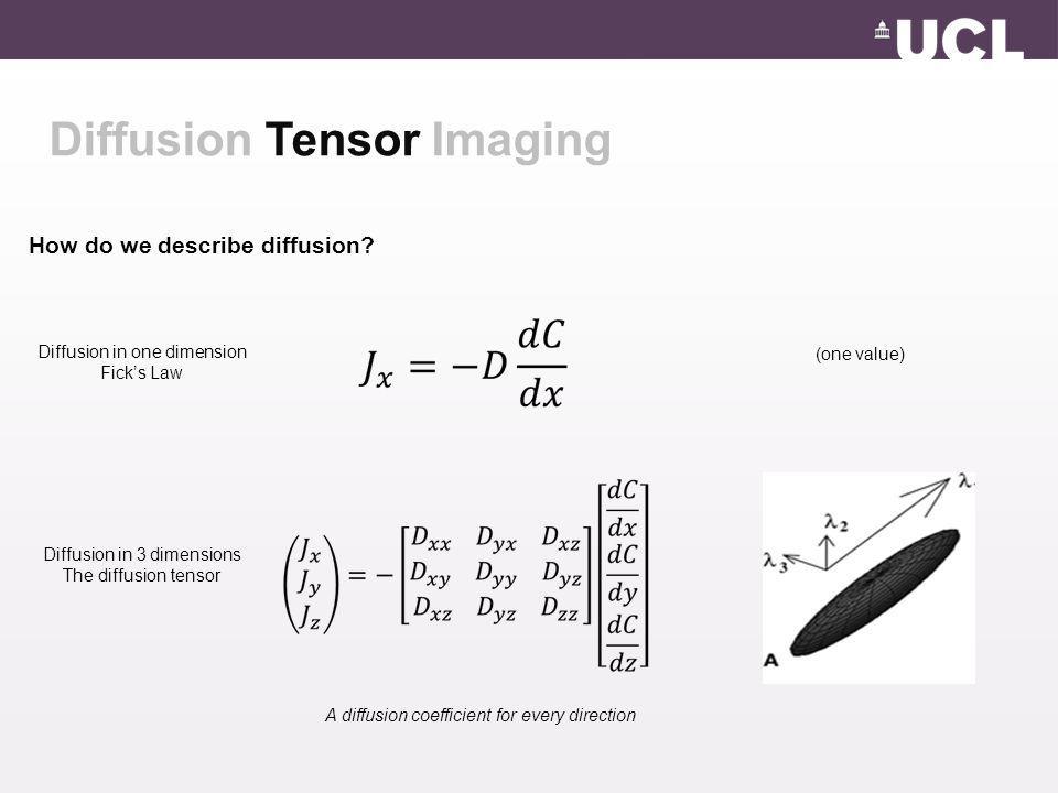 Diffusion Tensor Imaging How do we describe diffusion? Diffusion in one dimension Fick's Law Diffusion in 3 dimensions The diffusion tensor (one value