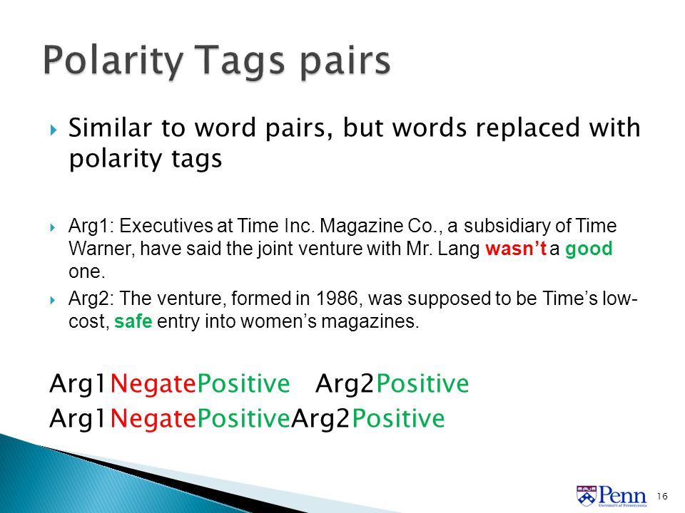  Similar to word pairs, but words replaced with polarity tags  Arg1: Executives at Time Inc.