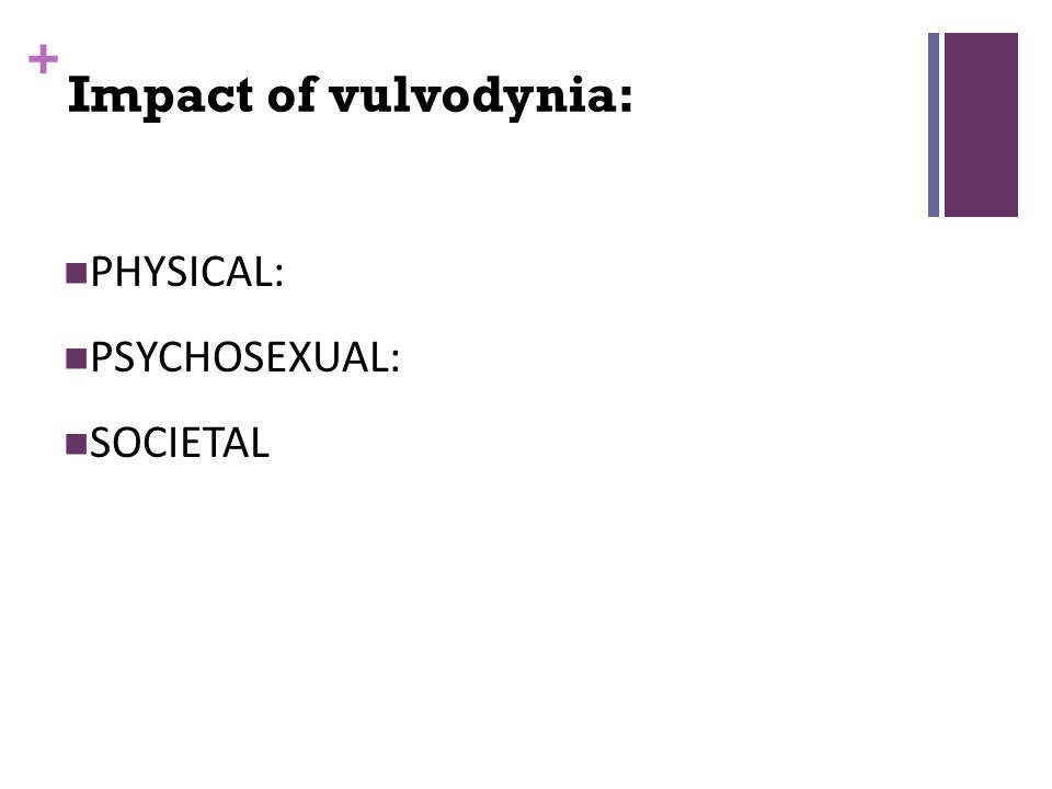 + PHYSICAL: PSYCHOSEXUAL: SOCIETAL Impact of vulvodynia:
