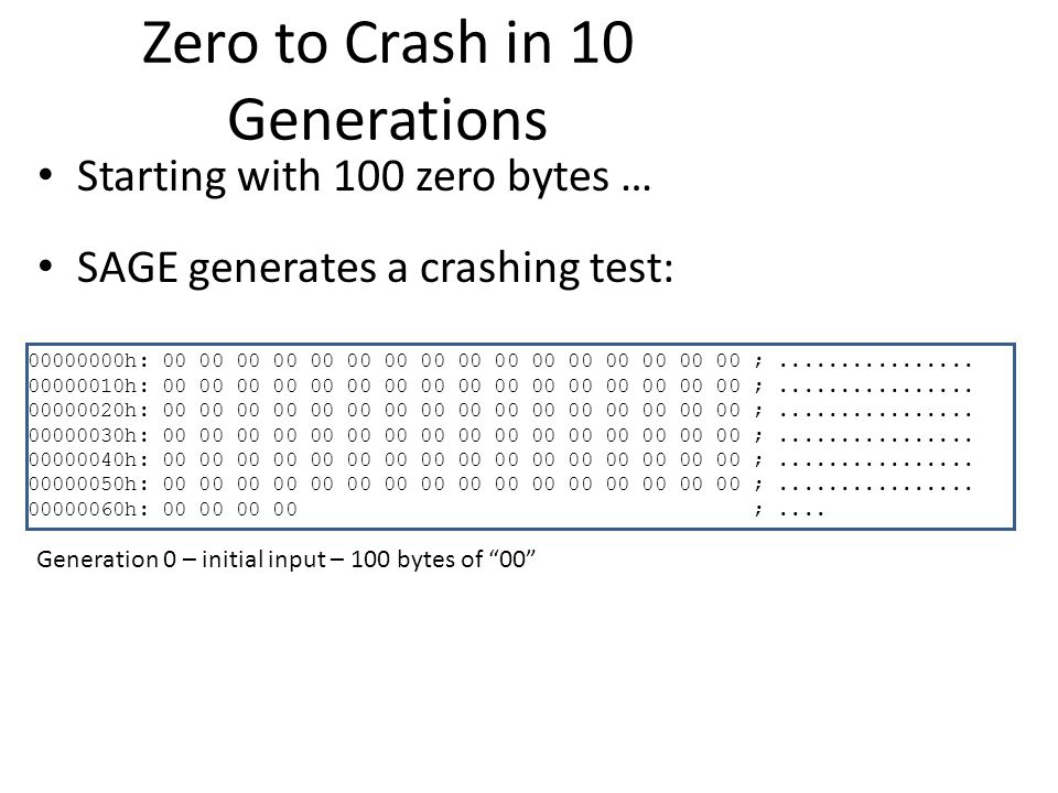 Zero to Crash in 10 Generations Starting with 100 zero bytes … SAGE generates a crashing test: 00000000h: 00 00 00 00 00 00 00 00 00 00 00 00 00 00 00 00 ;................