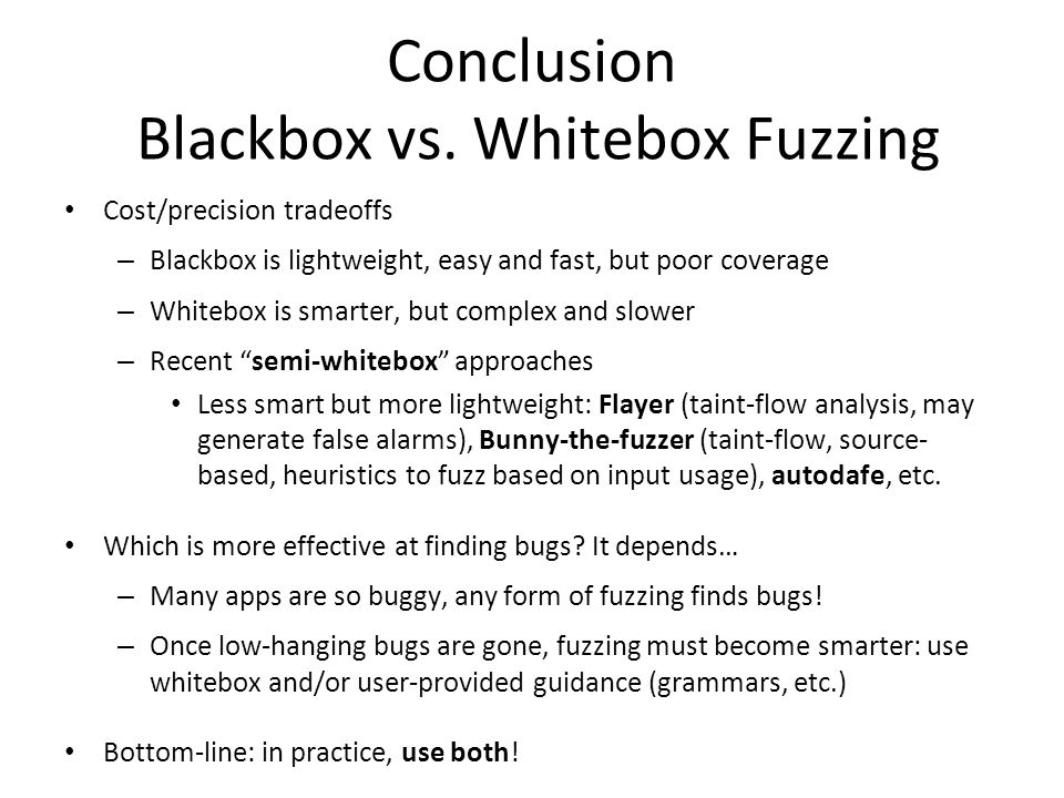 Conclusion Blackbox vs.