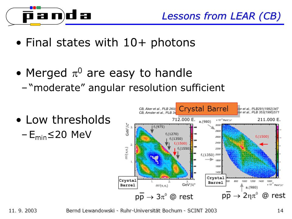 11. 9. 2003Bernd Lewandowski - Ruhr-Universität Bochum - SCINT 200314 Lessons from LEAR (CB) Final states with 10+ photons Merged  0 are easy to hand