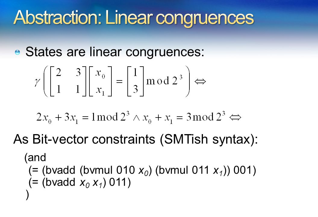 States are linear congruences: As Bit-vector constraints (SMTish syntax): (and (= (bvadd (bvmul 010 x 0 ) (bvmul 011 x 1 )) 001) (= (bvadd x 0 x 1 ) 011) )