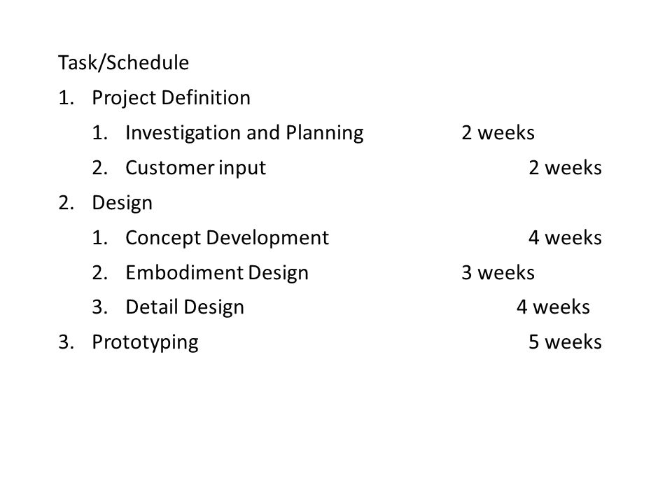 Task/Schedule 1.Project Definition 1.Investigation and Planning 2 weeks 2.Customer input2 weeks 2.Design 1.Concept Development4 weeks 2.Embodiment Design3 weeks 3.Detail Design 4 weeks 3.Prototyping5 weeks
