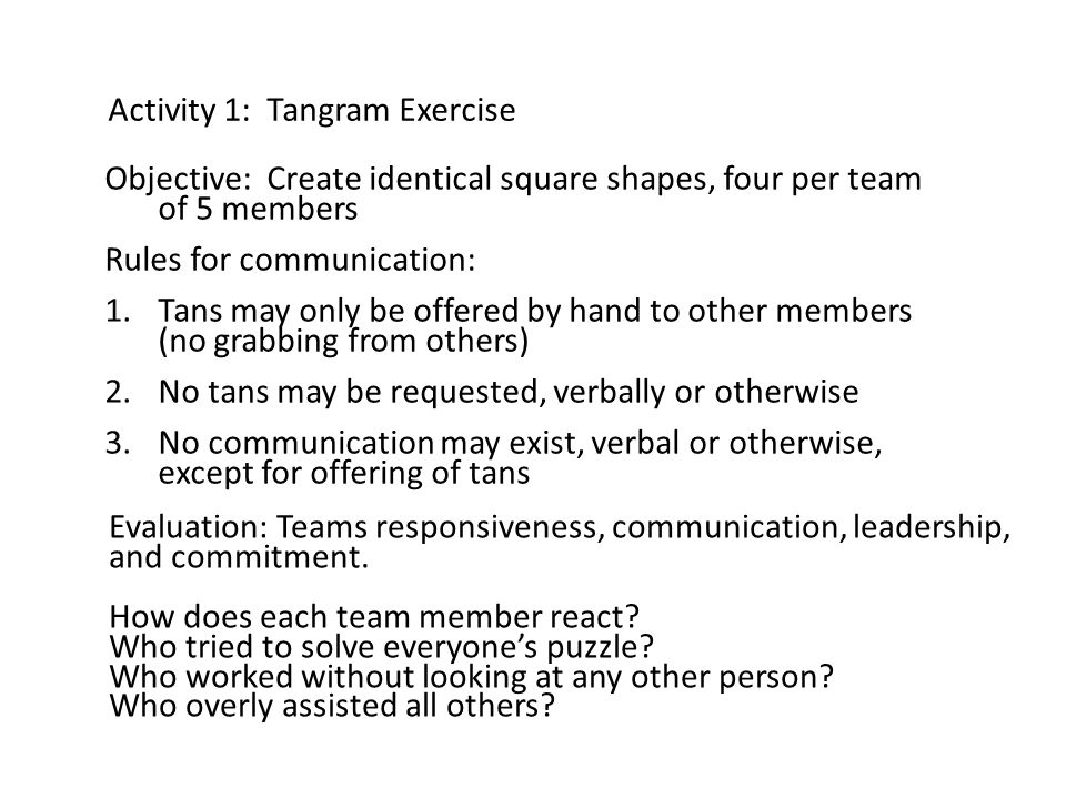 Activity 1: Tangram Exercise Objective: Create identical square shapes, four per team of 5 members Rules for communication: 1.Tans may only be offered by hand to other members (no grabbing from others) 2.No tans may be requested, verbally or otherwise 3.No communication may exist, verbal or otherwise, except for offering of tans Evaluation: Teams responsiveness, communication, leadership, and commitment.