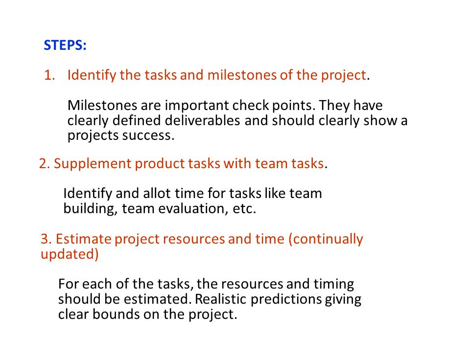 STEPS: 1.Identify the tasks and milestones of the project.