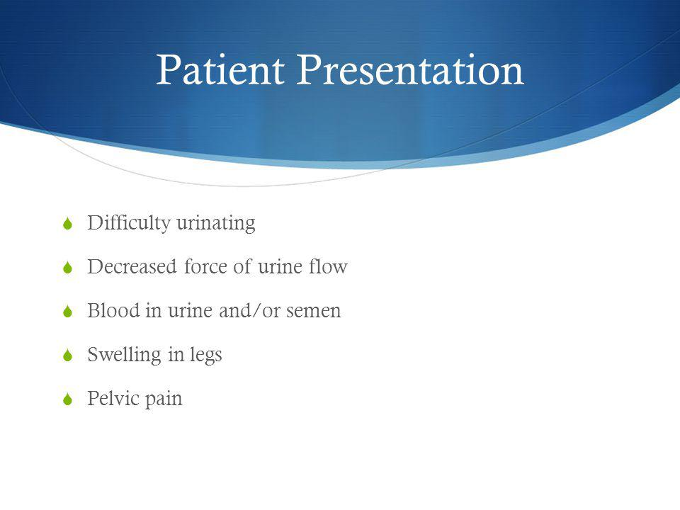 Patient Presentation  Difficulty urinating  Decreased force of urine flow  Blood in urine and/or semen  Swelling in legs  Pelvic pain