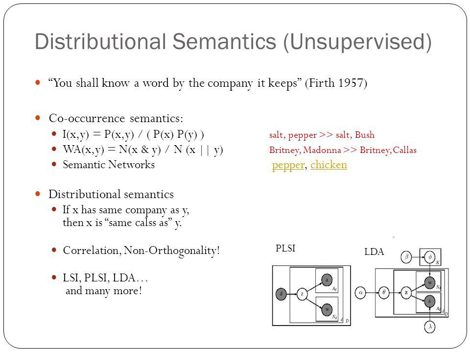 "Distributional Semantics (Unsupervised) ""You shall know a word by the company it keeps"" (Firth 1957) Co-occurrence semantics: I(x,y) = P(x,y) / ( P(x)"