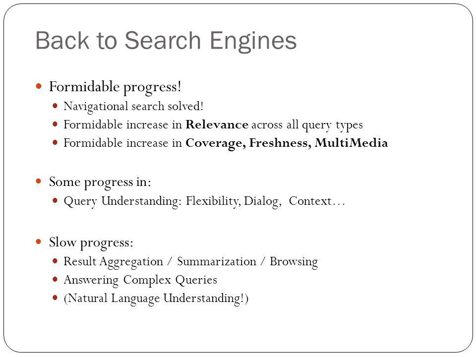 Back to Search Engines Formidable progress.Navigational search solved.