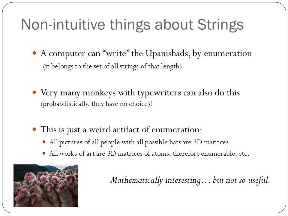 "Non-intuitive things about Strings A computer can ""write"" the Upanishads, by enumeration (it belongs to the set of all strings of that length). Very m"