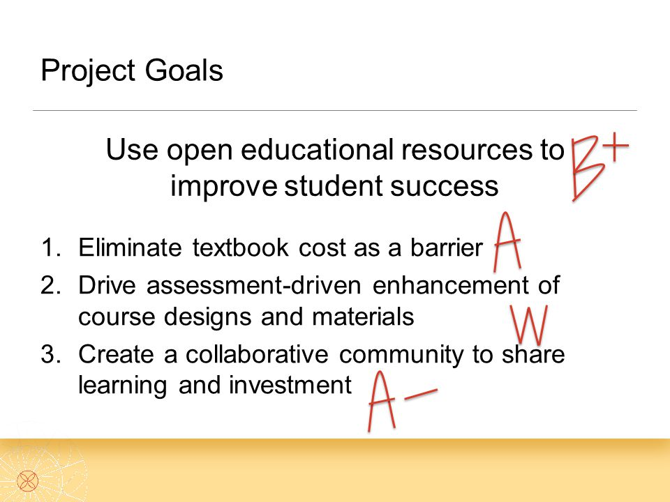 Use open educational resources to improve student success 1.Eliminate textbook cost as a barrier 2.Drive assessment-driven enhancement of course designs and materials 3.Create a collaborative community to share learning and investment Project Goals