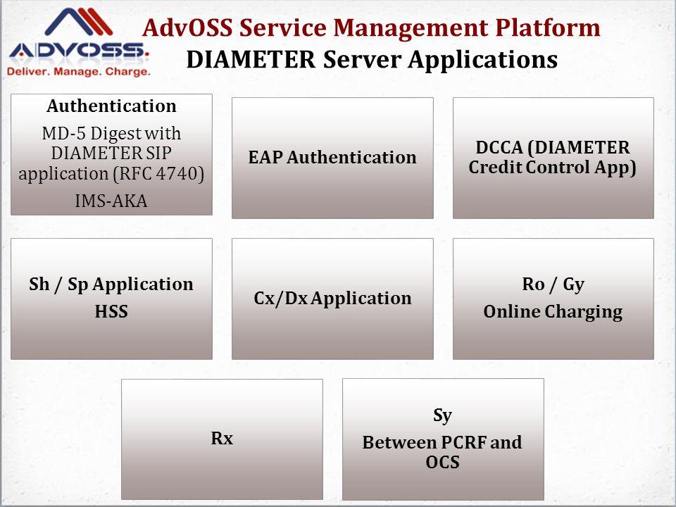 AdvOSS Service Management Platform DIAMETER Server Applications Authentication MD-5 Digest with DIAMETER SIP application (RFC 4740) IMS-AKA EAP Authen