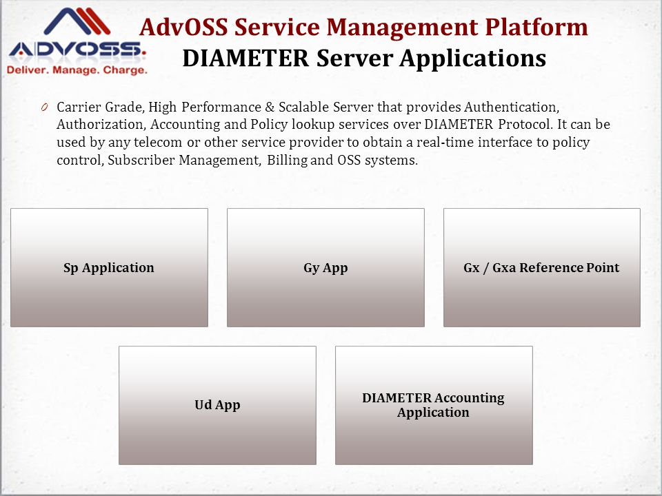 AdvOSS Service Management Platform DIAMETER Server Applications 0 Carrier Grade, High Performance & Scalable Server that provides Authentication, Authorization, Accounting and Policy lookup services over DIAMETER Protocol.