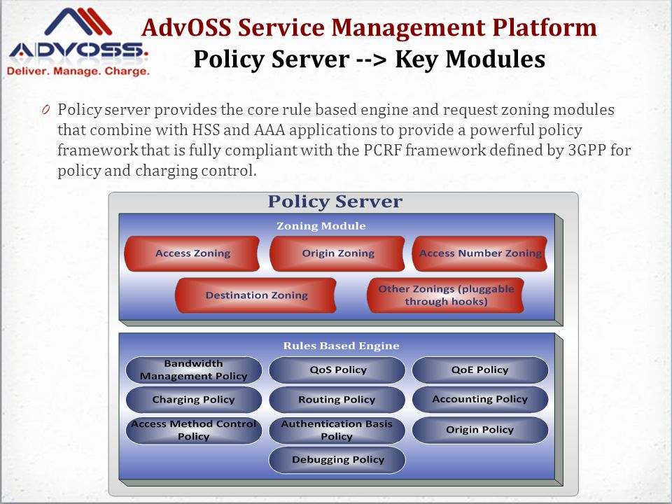 AdvOSS Service Management Platform Policy Server --> Key Modules 0 Policy server provides the core rule based engine and request zoning modules that combine with HSS and AAA applications to provide a powerful policy framework that is fully compliant with the PCRF framework defined by 3GPP for policy and charging control.