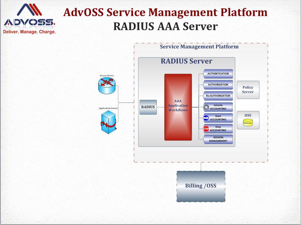 AdvOSS Service Management Platform RADIUS AAA Server --> Key Modules Basic Authentication Advanced AuthenticationSession Management Authorization Applications Re-authorization Applications Accounting Applications Hot-lining Application