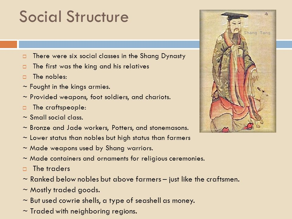 Social Structure  There were six social classes in the Shang Dynasty  The first was the king and his relatives  The nobles: ~ Fought in the kings a
