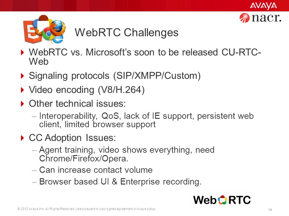 © 2013 Avaya Inc. All Rights Reserved. Use pursuant to your signed agreement or Avaya policy. 14 WebRTC Challenges  WebRTC vs. Microsoft's soon to be