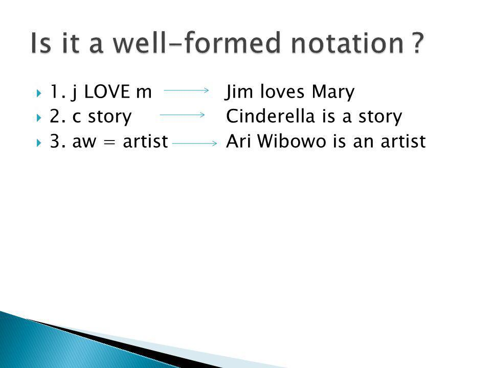  1. j LOVE m Jim loves Mary  2. c story Cinderella is a story  3. aw = artist Ari Wibowo is an artist