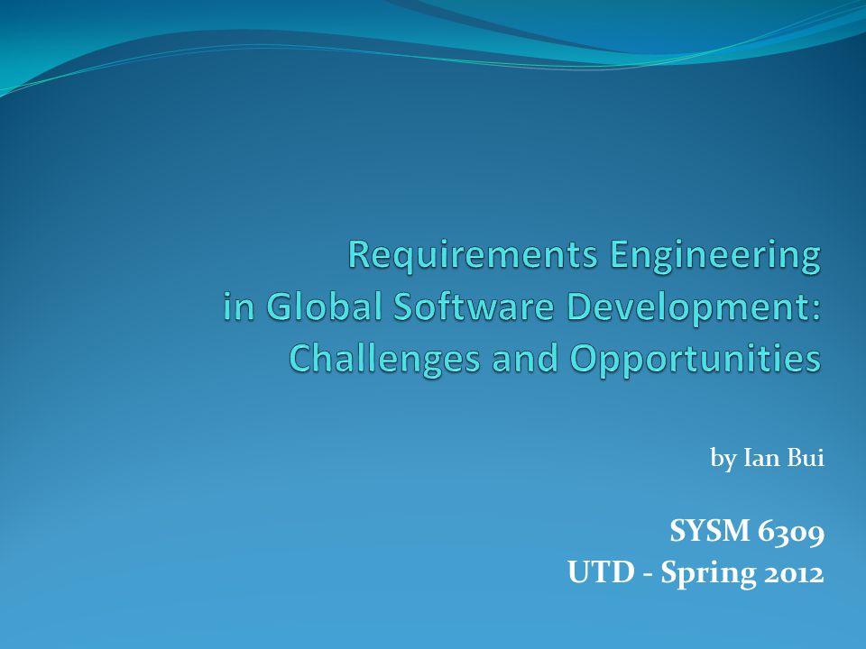 by Ian Bui SYSM 6309 UTD - Spring 2012