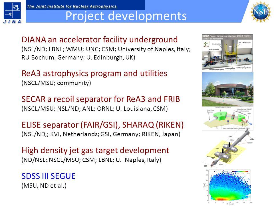 DIANA an accelerator facility underground (NSL/ND; LBNL; WMU; UNC; CSM; University of Naples, Italy; RU Bochum, Germany; U. Edinburgh, UK) ReA3 astrop