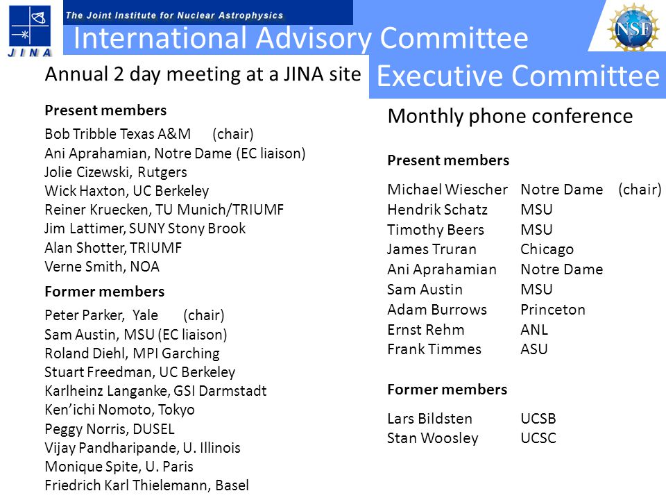 International Advisory Committee Former members Peter Parker, Yale (chair) Sam Austin, MSU (EC liaison) Roland Diehl, MPI Garching Stuart Freedman, UC Berkeley Karlheinz Langanke, GSI Darmstadt Ken'ichi Nomoto, Tokyo Peggy Norris, DUSEL Vijay Pandharipande, U.