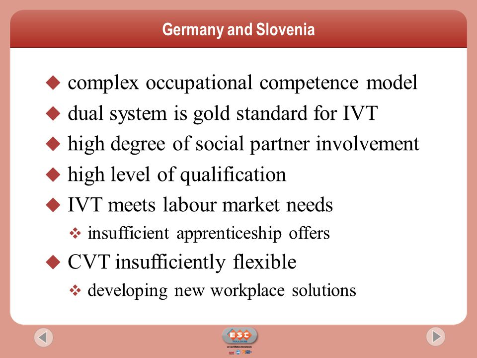  complex occupational competence model  dual system is gold standard for IVT  high degree of social partner involvement  high level of qualificati