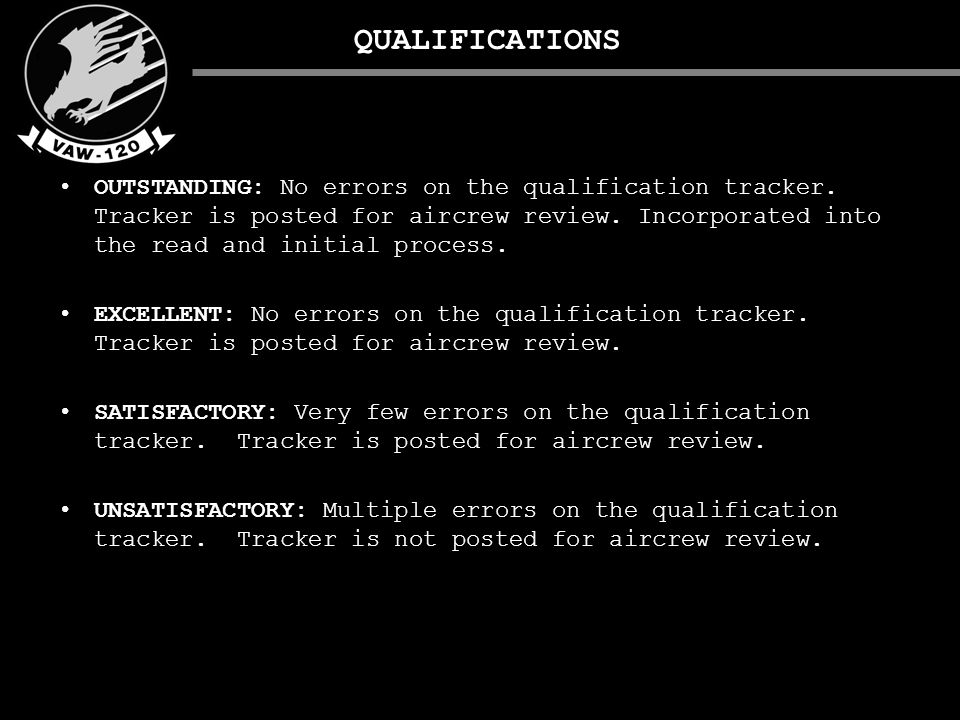 QUALIFICATIONS OUTSTANDING: No errors on the qualification tracker.