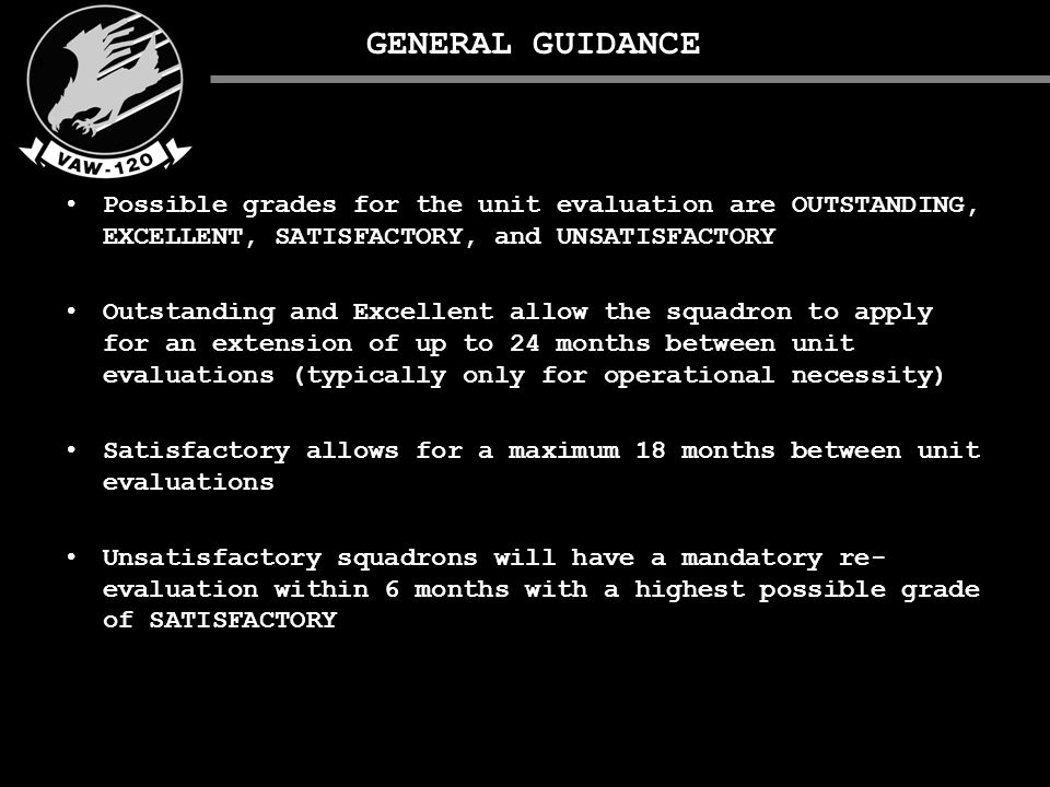 EVALUATION MATERIALS OUTSTANDING: Required exams present, updated annually, and are secured from squadron aircrew access.