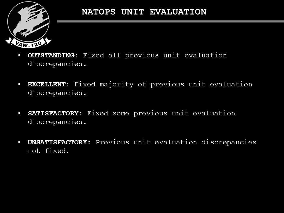 NATOPS UNIT EVALUATION OUTSTANDING: Fixed all previous unit evaluation discrepancies.
