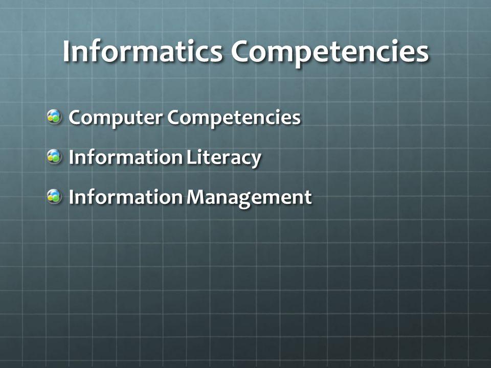 Informatics Competencies Computer Competencies Information Literacy Information Management