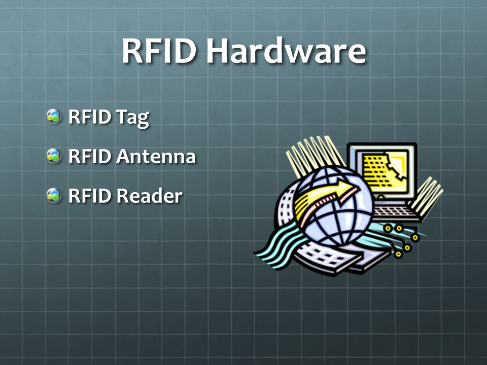 RFID Tags Unique Identifier Two types: Passive and Active Receive data Transmit data