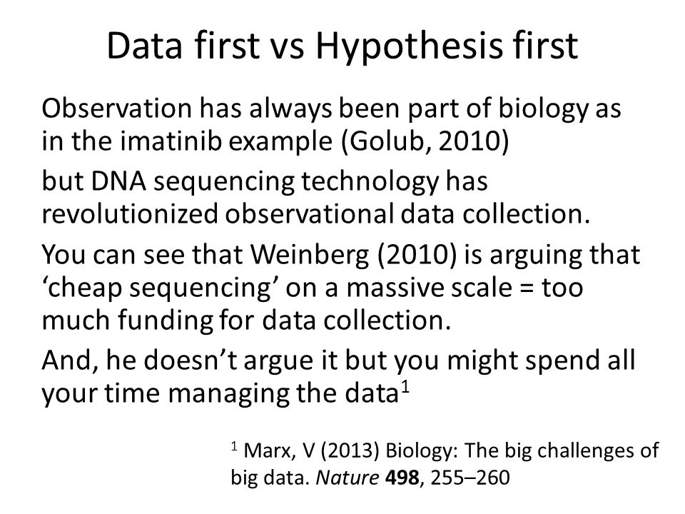 Observation has always been part of biology as in the imatinib example (Golub, 2010) but DNA sequencing technology has revolutionized observational data collection.