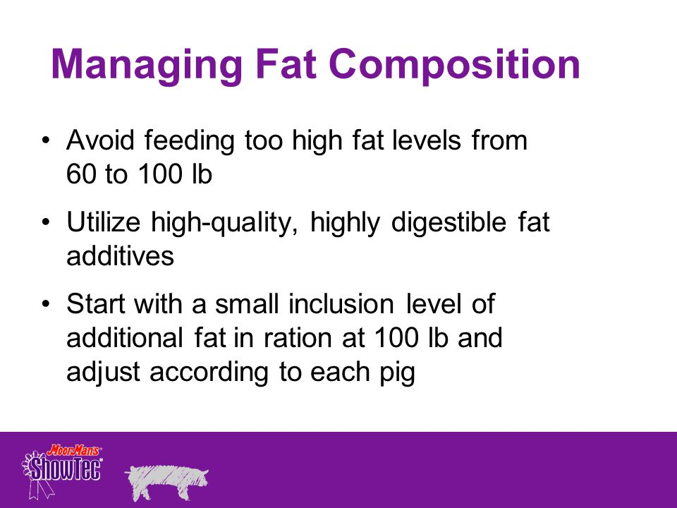 Managing Fat Composition Avoid feeding too high fat levels from 60 to 100 lb Utilize high-quality, highly digestible fat additives Start with a small inclusion level of additional fat in ration at 100 lb and adjust according to each pig