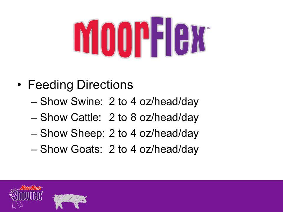 Feeding Directions –Show Swine:2 to 4 oz/head/day –Show Cattle:2 to 8 oz/head/day –Show Sheep:2 to 4 oz/head/day –Show Goats:2 to 4 oz/head/day