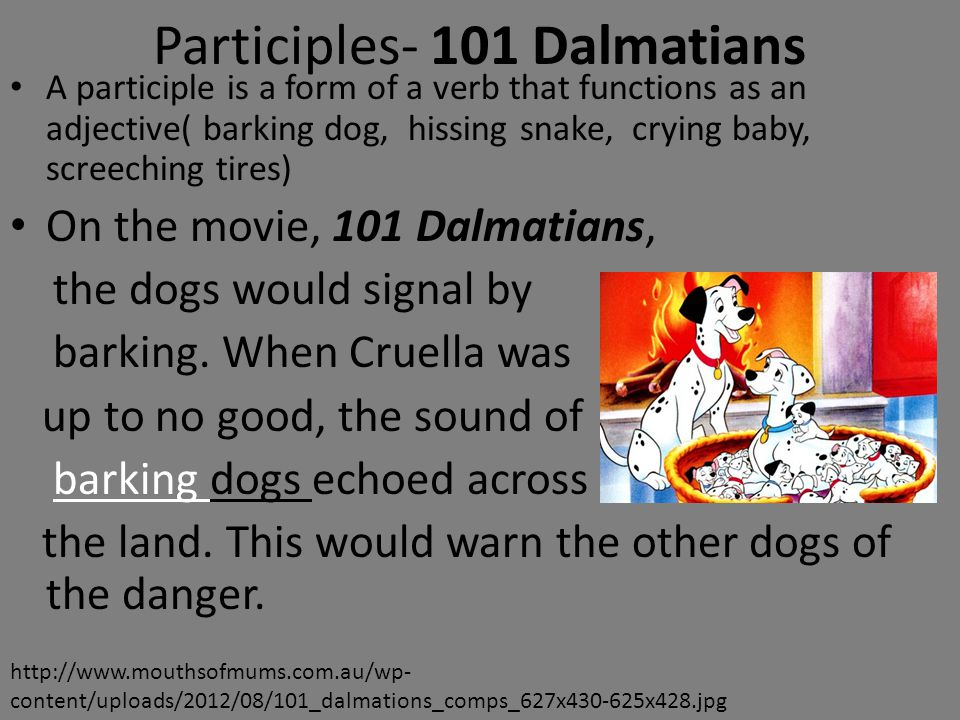 Participles- 101 Dalmatians A participle is a form of a verb that functions as an adjective( barking dog, hissing snake, crying baby, screeching tires) On the movie, 101 Dalmatians, the dogs would signal by barking.