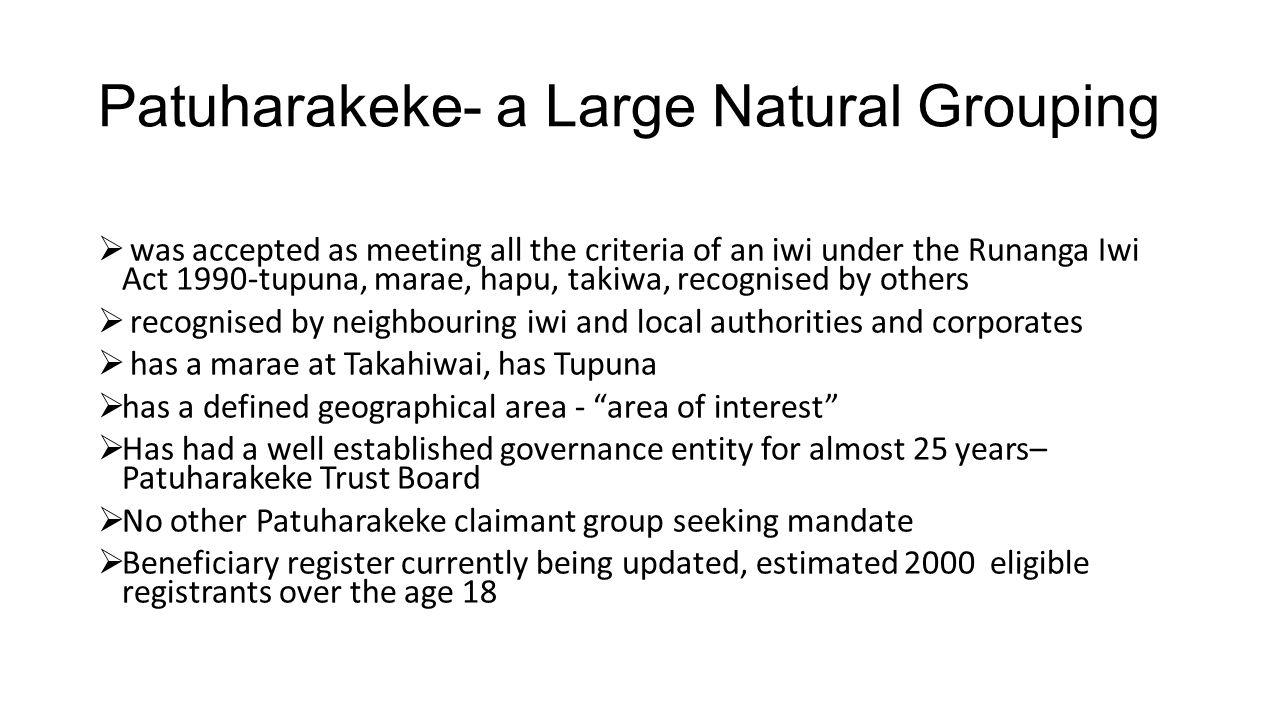 Patuharakeke- a Large Natural Grouping  was accepted as meeting all the criteria of an iwi under the Runanga Iwi Act 1990-tupuna, marae, hapu, takiwa