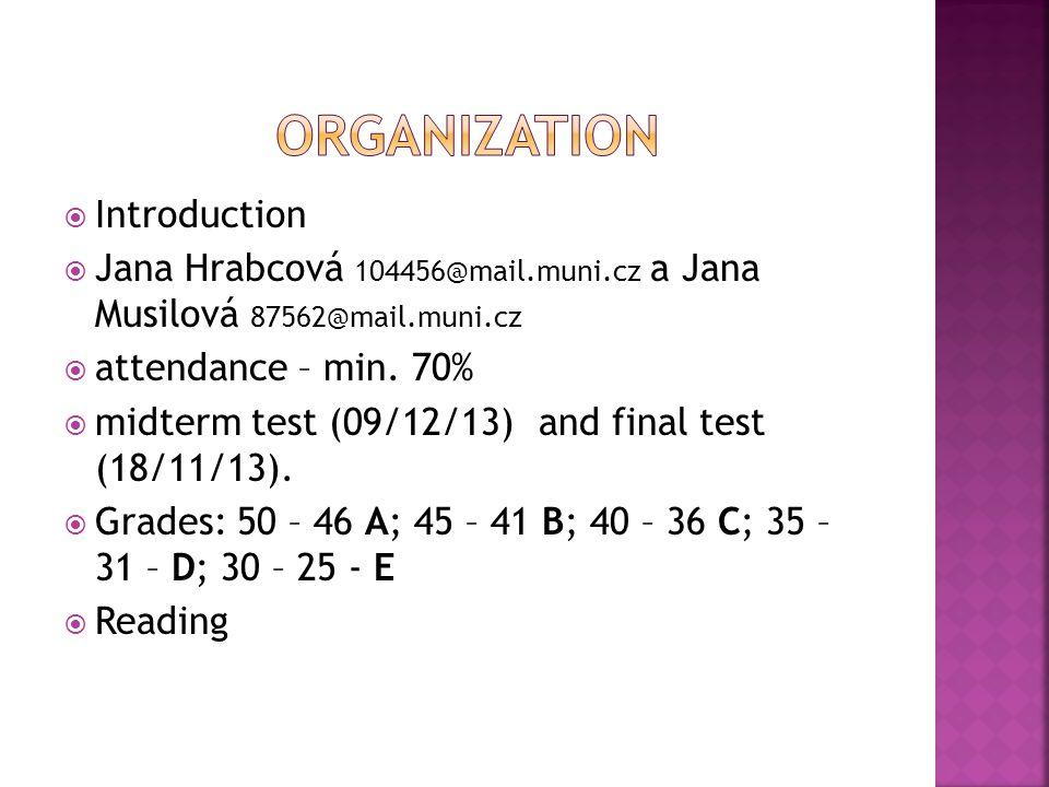  Introduction  Jana Hrabcová 104456@mail.muni.cz a Jana Musilová 87562@mail.muni.cz  attendance – min.