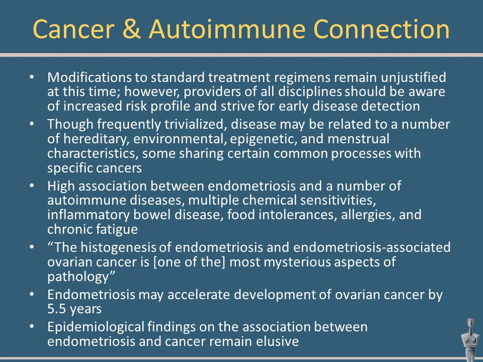 Cancer & Autoimmune Connection Modifications to standard treatment regimens remain unjustified at this time; however, providers of all disciplines sho