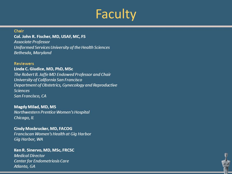 Faculty Chair Col. John R. Fischer, MD, USAF, MC, FS Associate Professor Uniformed Services University of the Health Sciences Bethesda, Maryland Revie