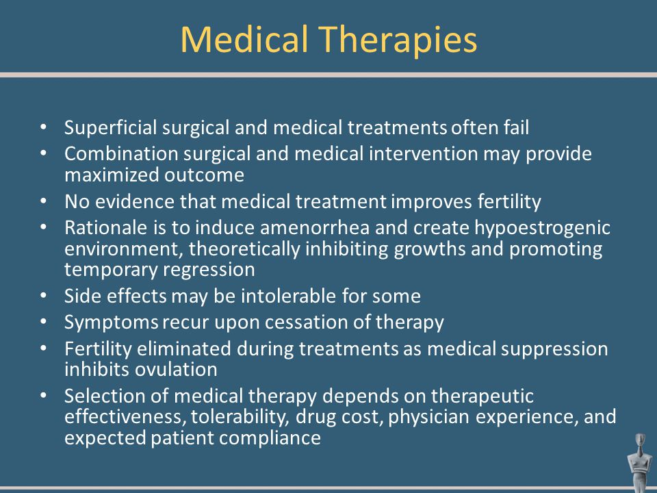 Medical Therapies Superficial surgical and medical treatments often fail Combination surgical and medical intervention may provide maximized outcome N