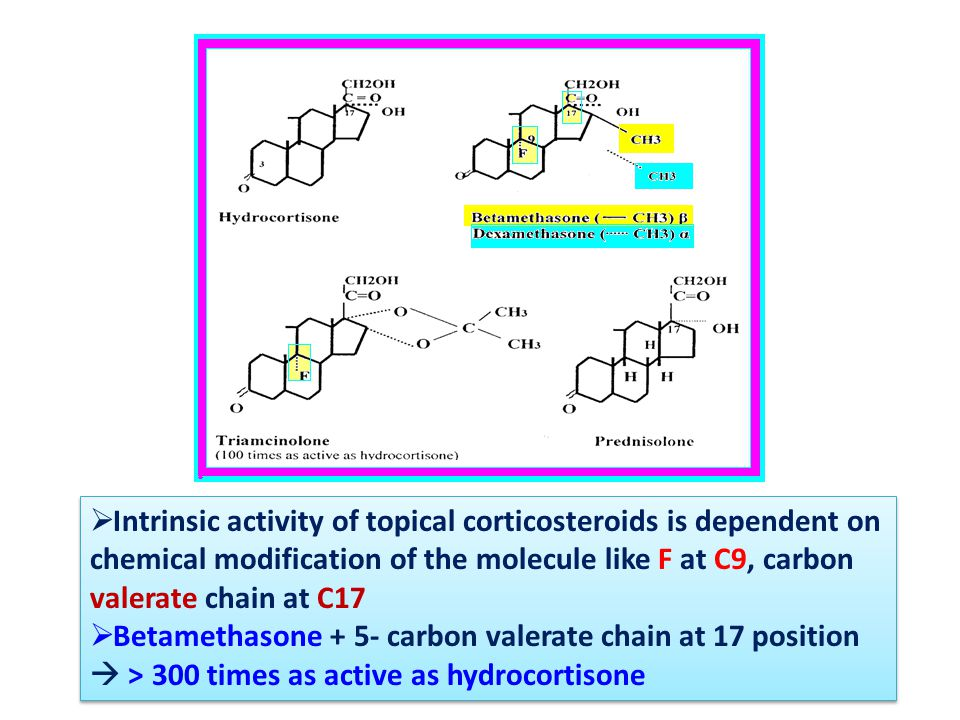  Intrinsic activity of topical corticosteroids is dependent on chemical modification of the molecule like F at C9, carbon valerate chain at C17  Betamethasone + 5- carbon valerate chain at 17 position  > 300 times as active as hydrocortisone  Intrinsic activity of topical corticosteroids is dependent on chemical modification of the molecule like F at C9, carbon valerate chain at C17  Betamethasone + 5- carbon valerate chain at 17 position  > 300 times as active as hydrocortisone