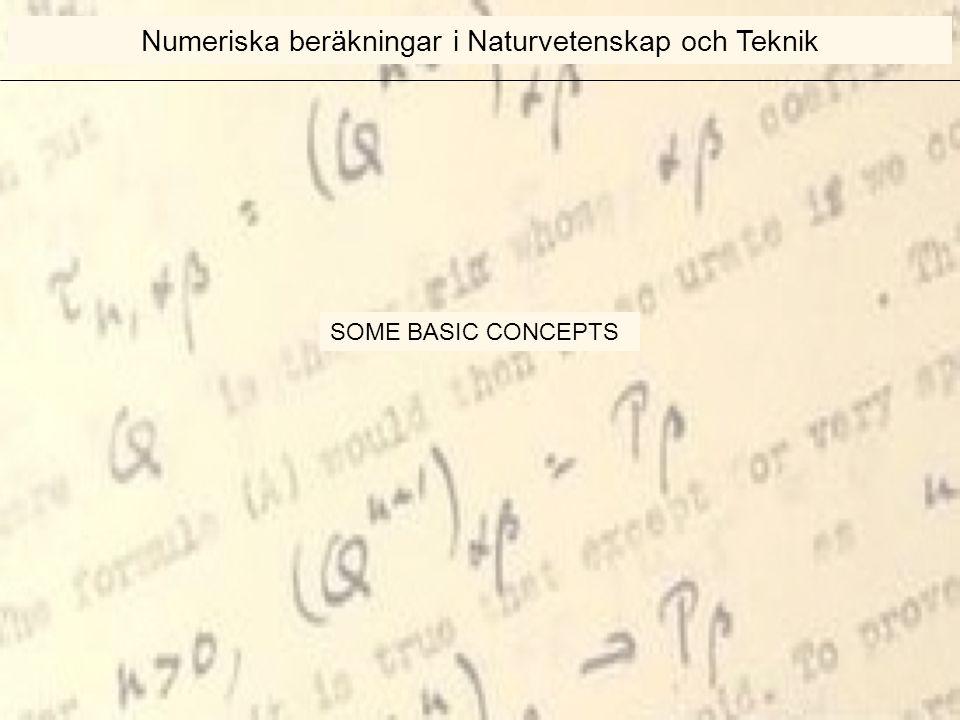 SOME BASIC CONCEPTS Numeriska beräkningar i Naturvetenskap och Teknik